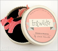 Erstwilder Brooch Pin Scottie Terrier Dog Red Black Box