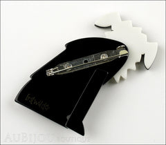 Erstwilder Brooch Pin Scruffy Sinclaire Black White Back