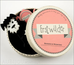 Erstwilder Brooch Pin Scruffy Sinclaire Black White Box