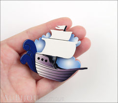 Erstwilder Brooch Pin Seafarer Ship Blue Model