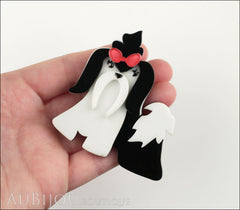 Erstwilder Brooch Pin Shona Shih Tzu Dog White Black Model
