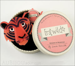 Erstwilder Brooch Pin Taj the Tiger Orange Red Black Box