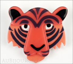 Erstwilder Brooch Pin Taj the Tiger Orange Red Black Front