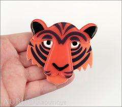 Erstwilder Brooch Pin Taj the Tiger Orange Red Black Model