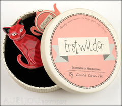 Erstwilder Brooch Pin Thomas Taffy Cat Red Chevron Box