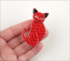 Erstwilder Brooch Pin Thomas Taffy Cat Red Chevron Model