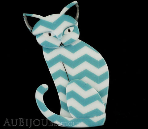 Erstwilder Brooch Pin Thomas Taffy Cat White Green Chevron Gallery