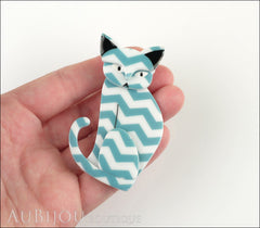 Erstwilder Brooch Pin Thomas Taffy Cat White Green Chevron Model