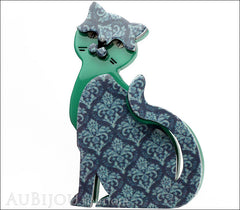 Erstwilder Cat Brooch Pin Purrfect Petunia Blue Grey Front