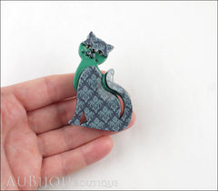 Erstwilder Cat Brooch Pin Purrfect Petunia Blue Grey Model