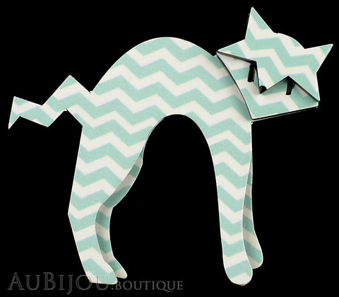 Erstwilder Cat Pin Brooch Breton Kitty Green Chevron Gallery