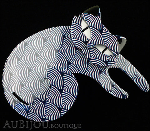 Erstwilder Cat Pin Brooch Curling Cassandra Blue Scales Gallery
