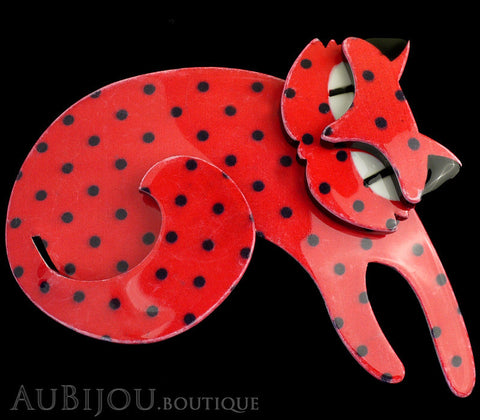 Erstwilder Cat Pin Brooch Curling Cassandra Red Black Gallery