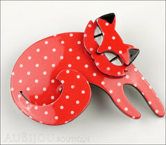 Erstwilder Cat Pin Brooch Curling Cassandra Red White Front