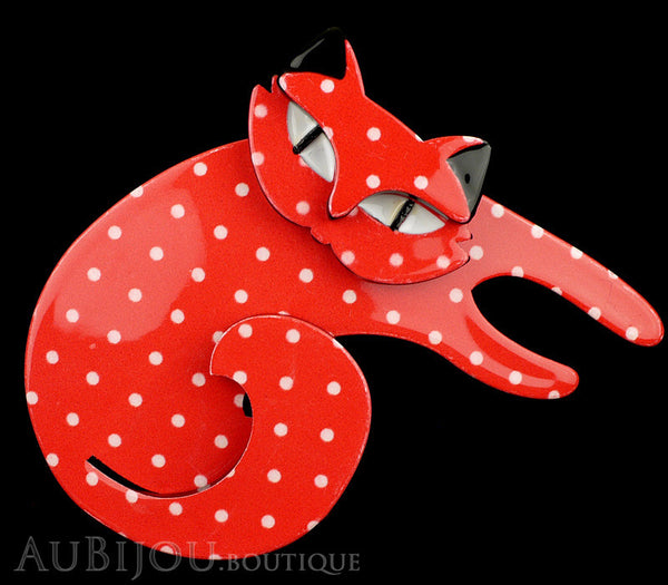 Erstwilder Cat Pin Brooch Curling Cassandra Red White Gallery