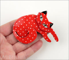 Erstwilder Cat Pin Brooch Curling Cassandra Red White Model