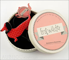 Erstwilder Dachshund Brooch Pin Spiffy the Sausage Dog Red Polka Dot Box