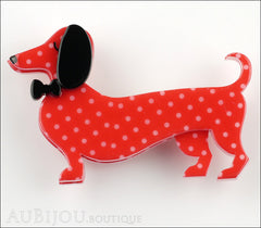 Erstwilder Dachshund Brooch Pin Spiffy the Sausage Dog Red Polka Dot Front