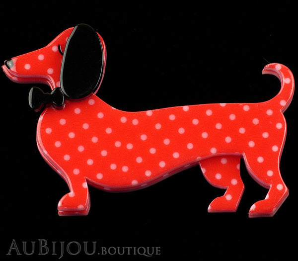 Erstwilder Dachshund Brooch Pin Spiffy the Sausage Dog Red Polka Dot Gallery