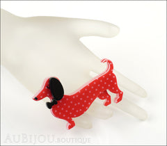 Erstwilder Dachshund Brooch Pin Spiffy the Sausage Dog Red Polka Dot Mannequin