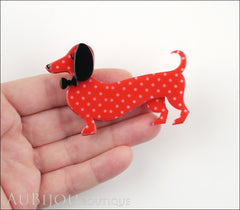 Erstwilder Dachshund Brooch Pin Spiffy the Sausage Dog Red Polka Dot Model