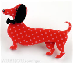 Erstwilder Dachshund Brooch Pin Spiffy the Sausage Dog Red Polka Dot Side