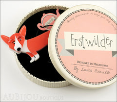 Erstwilder Dog Brooch Pin Georgie Corgi Dog Orange Box