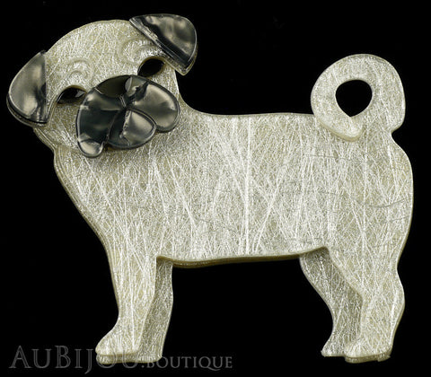 Erstwilder Dog Brooch Pin Pebbles The Pug Silver Grey Gallery