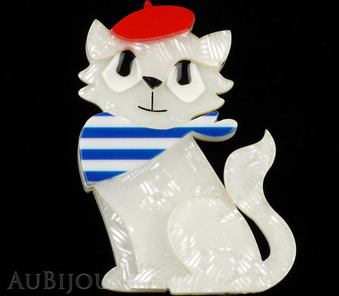 Erstwilder Brooch Pin Farrah the French Kitty Cat White Red Blue Gallery
