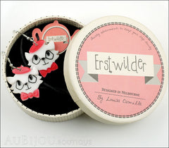 Erstwilder Earrings Farrah the French Kitty Cat White Red Box