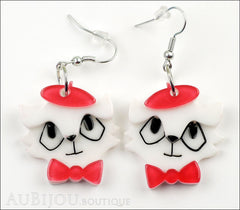 Erstwilder Earrings Farrah the French Kitty Cat White Red Front