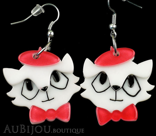 Erstwilder Earrings Farrah the French Kitty Cat White Red Gallery