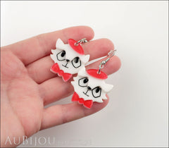 Erstwilder Earrings Farrah the French Kitty Cat White Red Model
