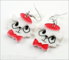 Erstwilder Earrings Farrah the French Kitty Cat White Red Side