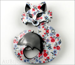 Erstwilder Fox Brooch Pin She's so Foxy Floral Print Front