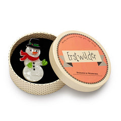 Erstwilder Gentleman Frost Snowman Christmas Brooch Pin Box