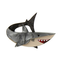 Erstwilder Here's Brucey Great White Shark Brooch Pin Front