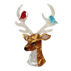 Erstwilder Kind-Hearted Keresh Deer Brooch Pin Front
