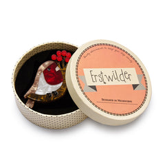 Erstwilder Little Red-Breast Robin Bird Brooch Pin Box