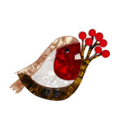 Erstwilder Little Red-Breast Robin Bird Brooch Pin Front