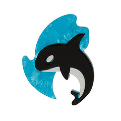Erstwilder Olinda The Honorable Orca Whale Brooch Pin Front