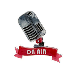 Erstwilder On Air Retro Microphone Brooch Pin Front