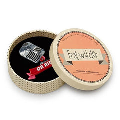 Erstwilder On Air Retro Microphone Brooch Pin Box