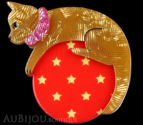 Erstwilder Pet Circus Brooch Pin Cat The Co-Ordinated Beige Red Gallery