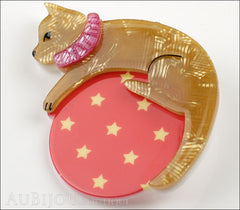Erstwilder Pet Circus Brooch Pin Cat The Co-Ordinated Beige Red Side