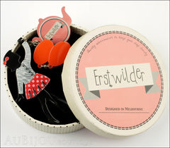 Erstwilder Pin Brooch Deco Girl Bev And The Flying Balloon Grey Red Box