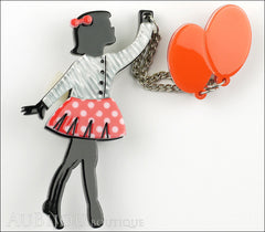 Erstwilder Pin Brooch Deco Girl Bev And The Flying Balloon Grey Red Front