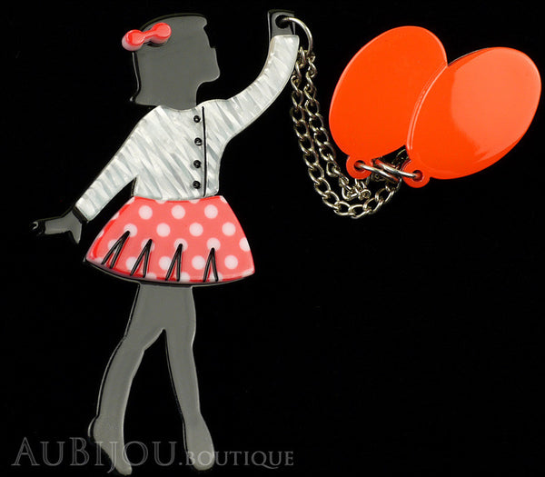 Erstwilder Pin Brooch Deco Girl Bev And The Flying Balloon Grey Red Gallery