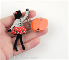 Erstwilder Pin Brooch Deco Girl Bev And The Flying Balloon Grey Red Model