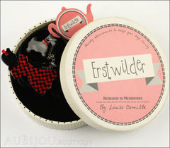 Erstwilder Pin Brooch Deco Girl Dog Walking Wonders Black Red Box